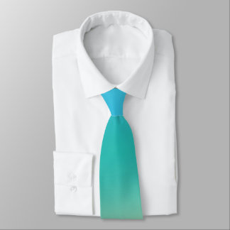 Elegant & Chic Baby Blue Teal Gold Ombre Watercolo Tie
