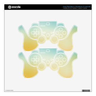 Elegant & Chic Beautiful Teal White Gold Watercolo Decal For PS3 Controller