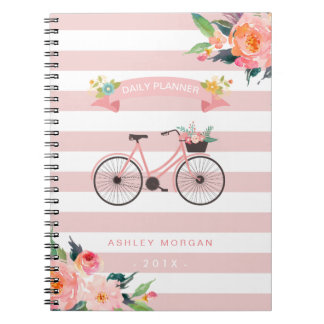 Elegant Chic Bicycle Floral Girly Pink Stripes Notebook