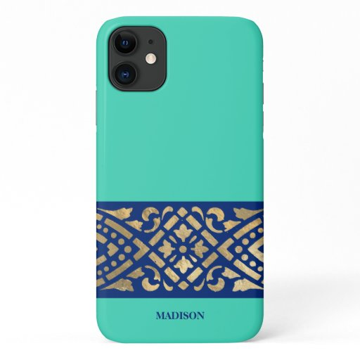 Elegant Chic Biscay Mint Green Blue Gold Custom iPhone 11 Case