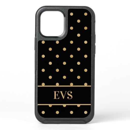 Elegant Chic Black Gold Polka Dots OtterBox Symmetry iPhone 12 Case