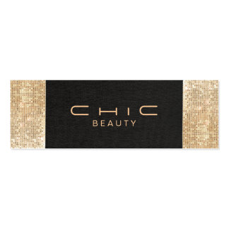 Elegant Chic Black Linen Gold Sequin Beauty Double-Sided Mini Business Cards (Pack Of 20)