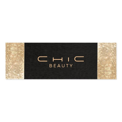 Elegant Chic Black Linen Gold Sequin Beauty Business Card