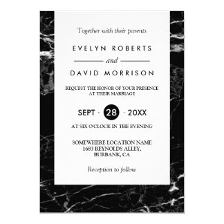 Elegant Chic Black White Marble Simple Wedding Card