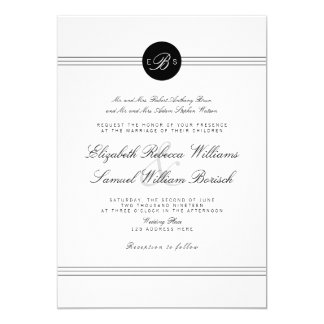 Elegant Chic Black White Monogram Wedding Invite