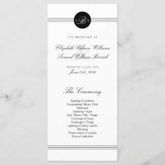 Elegant Chic Black White Monogram Wedding Program