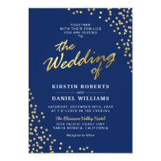 Elegant Chic Blue Gold Wedding Invitation