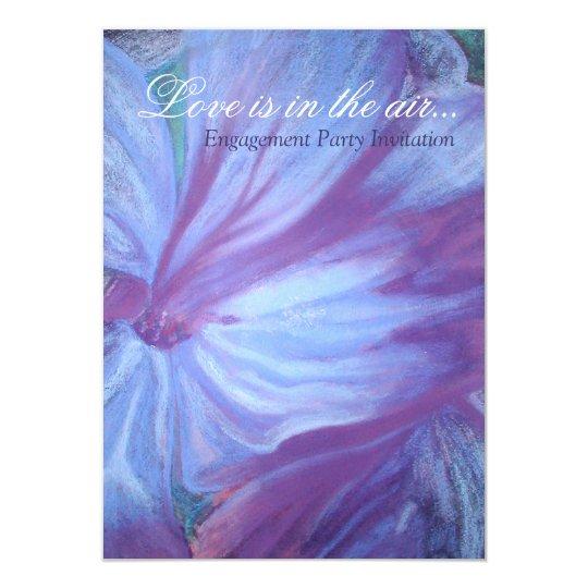 Elegant chic blue lilac floral engagement invites