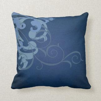 Elegant Chic Blue Scroll Blue Mojo Pillow