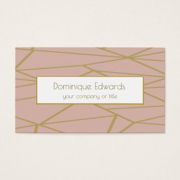Elegant Chic Blush Pink Abstract Gold Professional Business Card