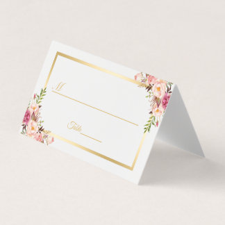 Elegant Chic Blush Pink Floral Gold Frame Wedding Place Card