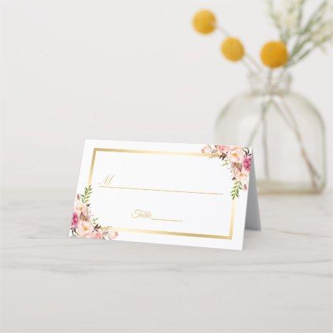 Elegant Chic Blush Pink Floral Gold Frame Wedding Place Card