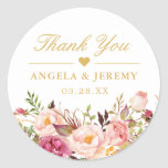 "Elegant Chic Blush Pink Floral Wedding Thank You Classic Round Sticker<br><div class=""desc"">Customize this ""Elegant Chic Blush Pink Floral Wedding Thank You Wedding Favor Sticker"" to add a special touch. It"
