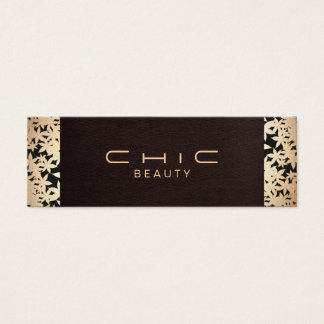 Elegant Chic Brown Linen and Gold Leaf Look 2 Mini Business Card