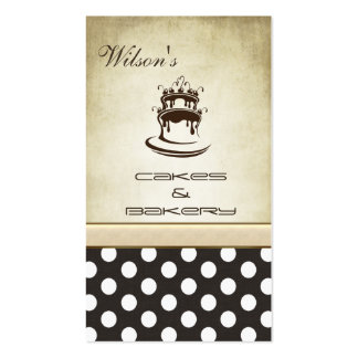 Elegant chic cake & bakery vintage polka dots Double-Sided standard business cards (Pack of 100)