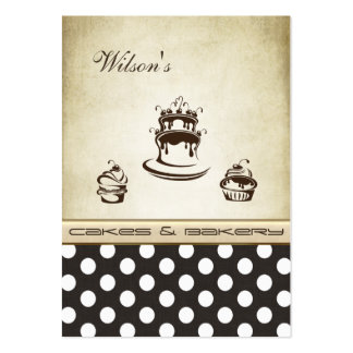 Elegant chic cake & bakery vintage polka dots business card templates