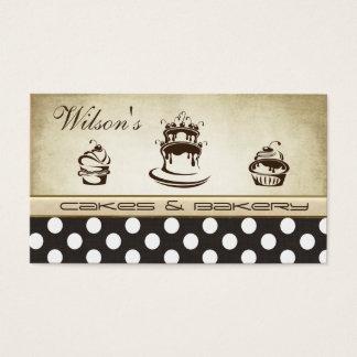 Elegant chic cake & bakery vintage polka dots business card