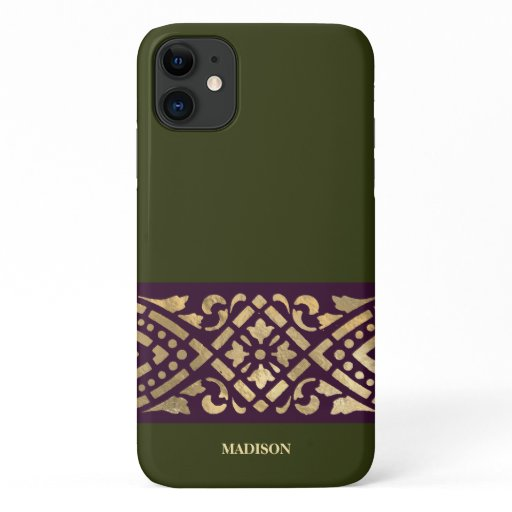 Elegant Chic Chive Green Purple Gold Custom iPhone 11 Case