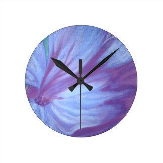 Elegant chic classy blue lilac floral wall clocks