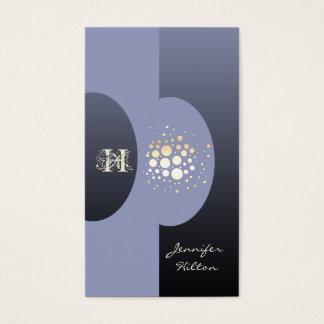 Elegant chic confetti ellipse monogram lavander business card