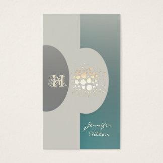 Elegant chic confetti ellipse monogram mint business card