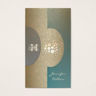 Elegant chic confetti ellipse monogram mint gold business card