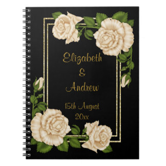 Elegant Chic Corner Ivory Roses Bouquets Wedding Notebook