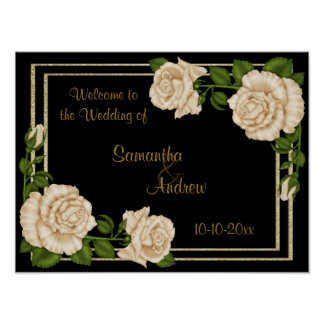 Elegant Chic Corner Ivory Roses Bouquets Wedding Poster