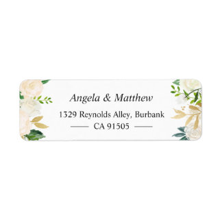 Elegant Chic Cream Gold Botanical Floral Label