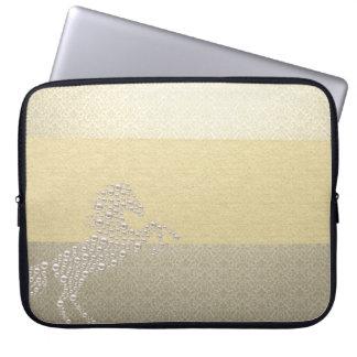 Elegant Chic Damask Horse Pearls Laptop Sleeve