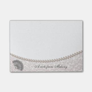 Elegant chic damask pearls vintage fan  monogram post-it® notes