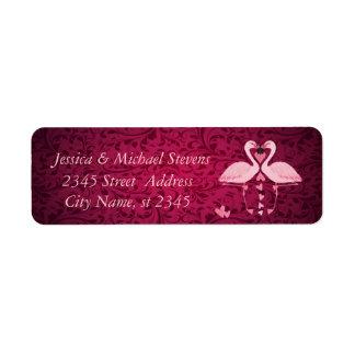Elegant chic damask vintage romantic flamingos label