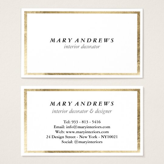 Elegant chic faux foil gold plain white luxury business card elegant chic faux foil gold plain white luxury business card colourmoves