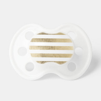 Elegant chic faux gold foil luxury stripe pattern pacifier
