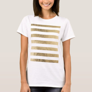 Elegant chic faux gold foil luxury stripe pattern T-Shirt