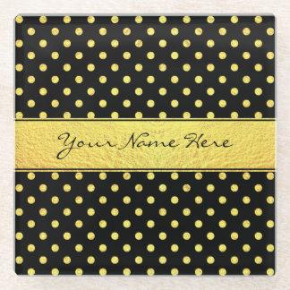 Elegant Chic Faux Gold Polka Dots on Black Glass Coaster