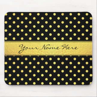 Elegant Chic Faux Gold Polka Dots on Black Mouse Pad