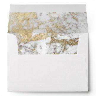 Elegant chic faux gold white stylish marble envelope