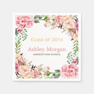 Elegant Chic Floral Decor Class of 2018 Graduation Paper Napkin