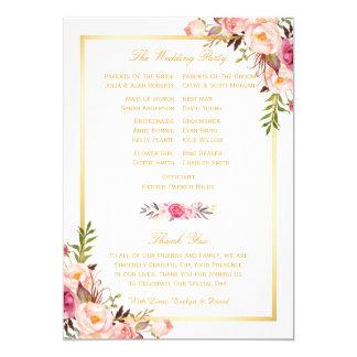 Elegant Chic Floral DIY Wedding Program Fans Back