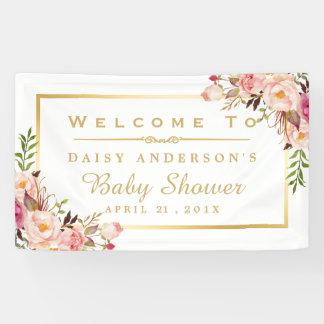 Elegant Chic Floral Gold Frame Baby Shower Banner