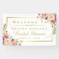 Elegant Chic Floral Gold Frame Bridal Shower Banner