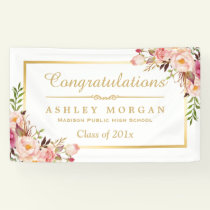 Elegant Chic Floral Gold Frame Graduation Party Banner