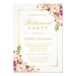 Retirement invitations 3600 retirement announcements invites elegant chic floral gold frame retirement party card stopboris Choice Image