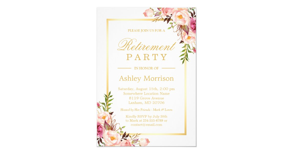Retirement party invitations zazzle elegant chic floral gold frame retirement party card stopboris