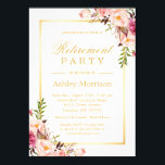 "Elegant Chic Floral Gold Frame | Retirement Party Invitation<br><div class=""desc"">================= ABOUT THIS DESIGN ================= Graceful Chic Floral Gold Frame 