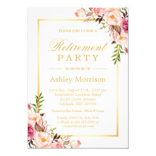 elegant chic floral gold frame retirement party invitation