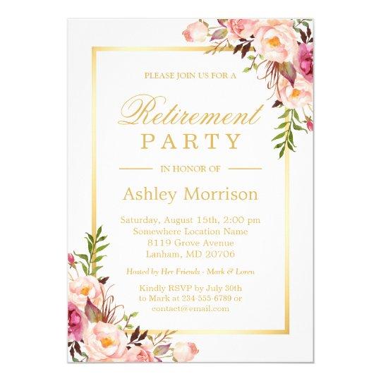 Elegant chic floral gold frame retirement party invitation elegant chic floral gold frame retirement party invitation stopboris Image collections