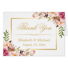 Elegant Chic Floral Gold Frame Thank You Card