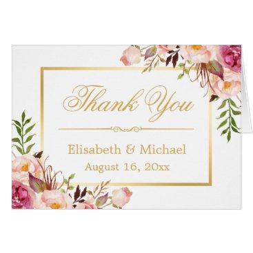 CardHunter Elegant Chic Floral Gold Frame Thank You Card